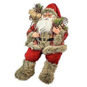 Papai Noel Sentado Xadrez - 60cm