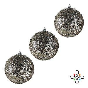 Kit Bolas de Natal Decoradas Champagne - 10 cm | 3 unidades