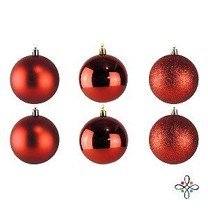 Kit Bolas de Natal Vermelhas - 8cm | 6 unidades