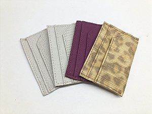 Porta cartão de crédito em couro legítimo cores diversas