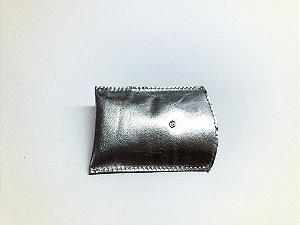 Porta cartão de visita em couro legítimo deslizante