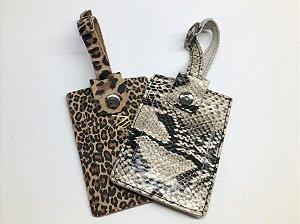 Tag para mala  em couro legítimo animal print