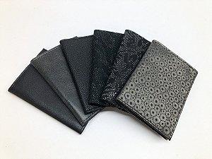 Carteira unissex fina de couro legítimo preto