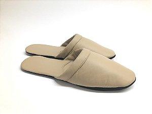 Chinelo luva para os pés couro legítimo Creme