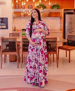 Vestido Gestante Longo Transpassado Rosas em Suplex Soft