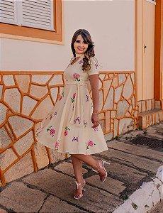 Vestido Midi Evasê Estampado em Suplex Soft