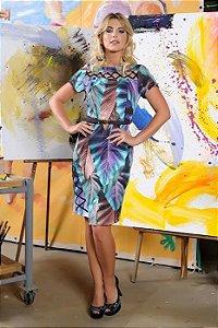 Vestido Cassia Segeti Estampado com Cinto Moda Evangélica