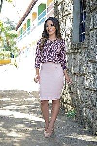 Blusa Nafee Estampada com Fita Moda Evangélica
