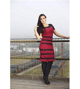 Vestido NK3 Vinho Listrado Moda Evangélica