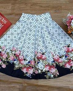 Saia Midi Branca Barra Floral Moda Evangélica