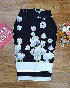 Saia Lápis Preta com Floral e Barra Branca Moda Evangélica