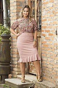 Saia Kauly Plus Size Rosê Moda Evangélica