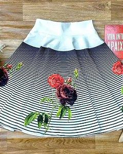 Saia Midi Godê Listras Rosas Moda Evangélica