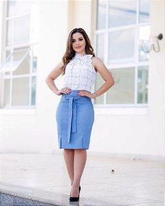 Conjunto Saia Jeans e Blusa Branca Moda Evangélica