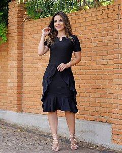 Vestido Midi Samile Preto com Babados Moda Evangélica
