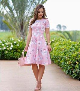 Vestido Rosa Floral Moda Evangélica