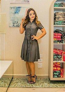 Vestido Midi Jeans Tencel Botões e Amarração Moda Evangélica