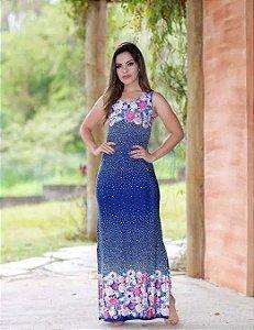 Vestido Longo Estampado Regata com Fenda Moda Evangélica
