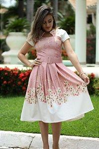 Vestido Midi Amanda Neoprene com Pregas Moda Evangélica
