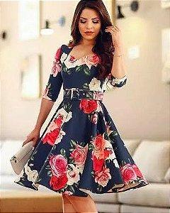 346ea79f5 Vestido Midi Paola Princesa Neoprene Moda Evangélica