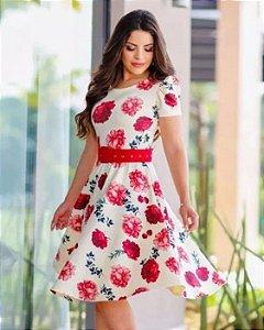 Vestido Midi Rosas Princesinha Moda Evangélica