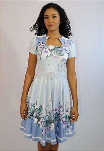 Vestido Midi Azul Floral com Cinto Moda Evangélica