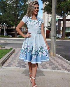 Vestido Midi Godê Azul Floral com Cinto