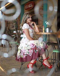 Vestido Midi Godê Andreia Floral com Cinto
