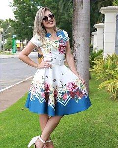 Vestido Midi Bella Floral com Cinto Moda Evangélica
