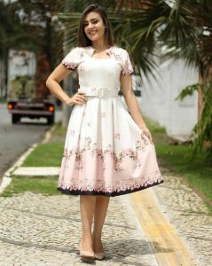 Vestido Midi Ester Floral com Cinto Moda Evangélica