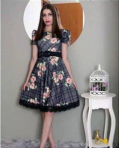 Vestido Midi Detalhe em Renda Moda Evangélica