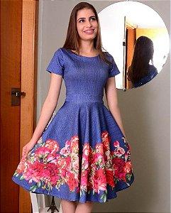 Vestido Midi Safira Floral na Saia Neoprene Moda Evangélica