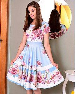 Vestido Midi Alice Azul Floral Neoprene Moda Evangélica