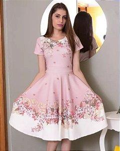 fa426f8a9c Vestido Midi Aline Floral Barrado Moda Evangélica
