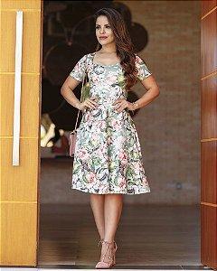 Vestido Midi Lady Like Floral Moda Evangélica