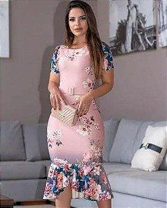 b2e5a50bf Vestido Peplum Rosê Piquet Moda Cristã