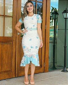 Vestido Tubinho Peplum Sereia em Piquet Moda Evangélica