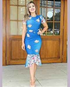 Vestido Tubinho Peplum Azul Piquet Moda Evangélica