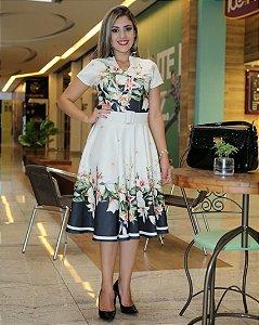 Vestido Midi Linda Barrado e Floral Moda Evangélica
