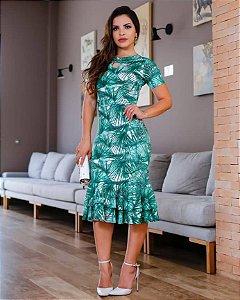 Vestido Midi Jordana Verde com Babado Moda Evangélica