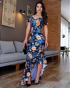 Vestido Midi Talita com Babado Lateral Moda Evangélica