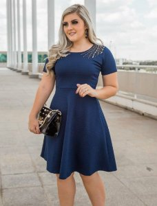 Vestido Midi Lady Like Azul Bordado Moda Evangélica