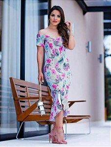 Vestido Tubinho Gisele Listrado Floral com Babado Moda Evangélica