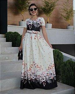 Vestido Longo Vanessa com cinto Neoprene Moda Evangélica