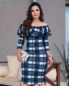 Vestido Tubinho Luana Xadrez Babados Moda Evangélica