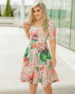 Vestido Midi Aurora Floral Moda Evangélica