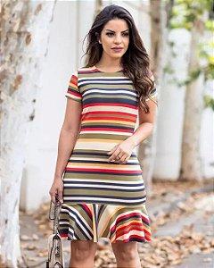Vestido Tubinho Aline Listras Moda Evangélica