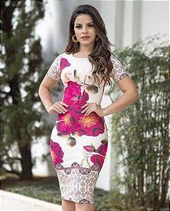 Vestido Tubinho Joana Floral Moda Evangélica