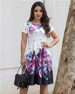Vestido Midi Isabela Barrado Moda Evangélica
