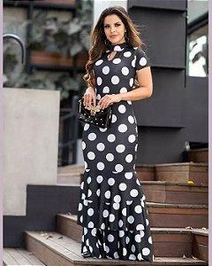Vestido Longo Poá com Babados Moda Evangélica